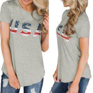 Gray USA 4th of July Flag Short Sleeve Tee Top